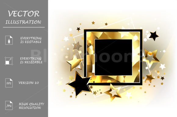 Square Banner with Golden Stars Graphic Illustrations By Blackmoon9