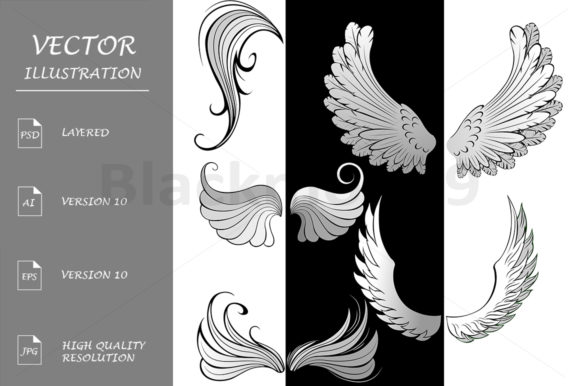 Stylized Wings Graphic Illustrations By Blackmoon9