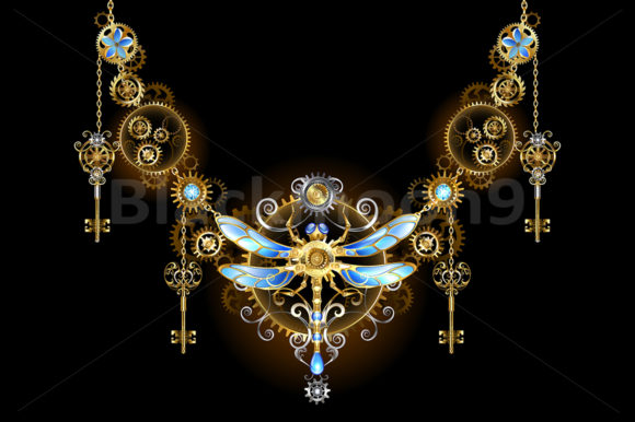 Symmetric Ornament with Dragonfly Graphic Illustrations By Blackmoon9