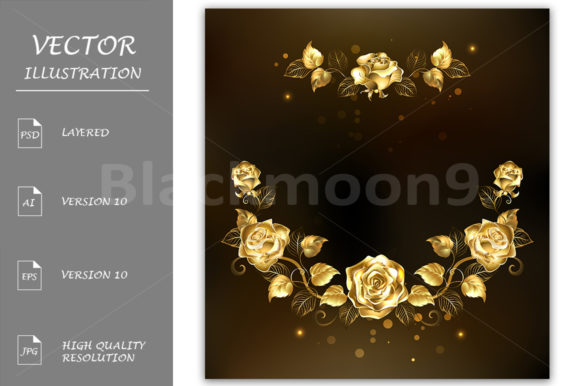 Symmetrical Garland of Gold Roses Graphic Illustrations By Blackmoon9