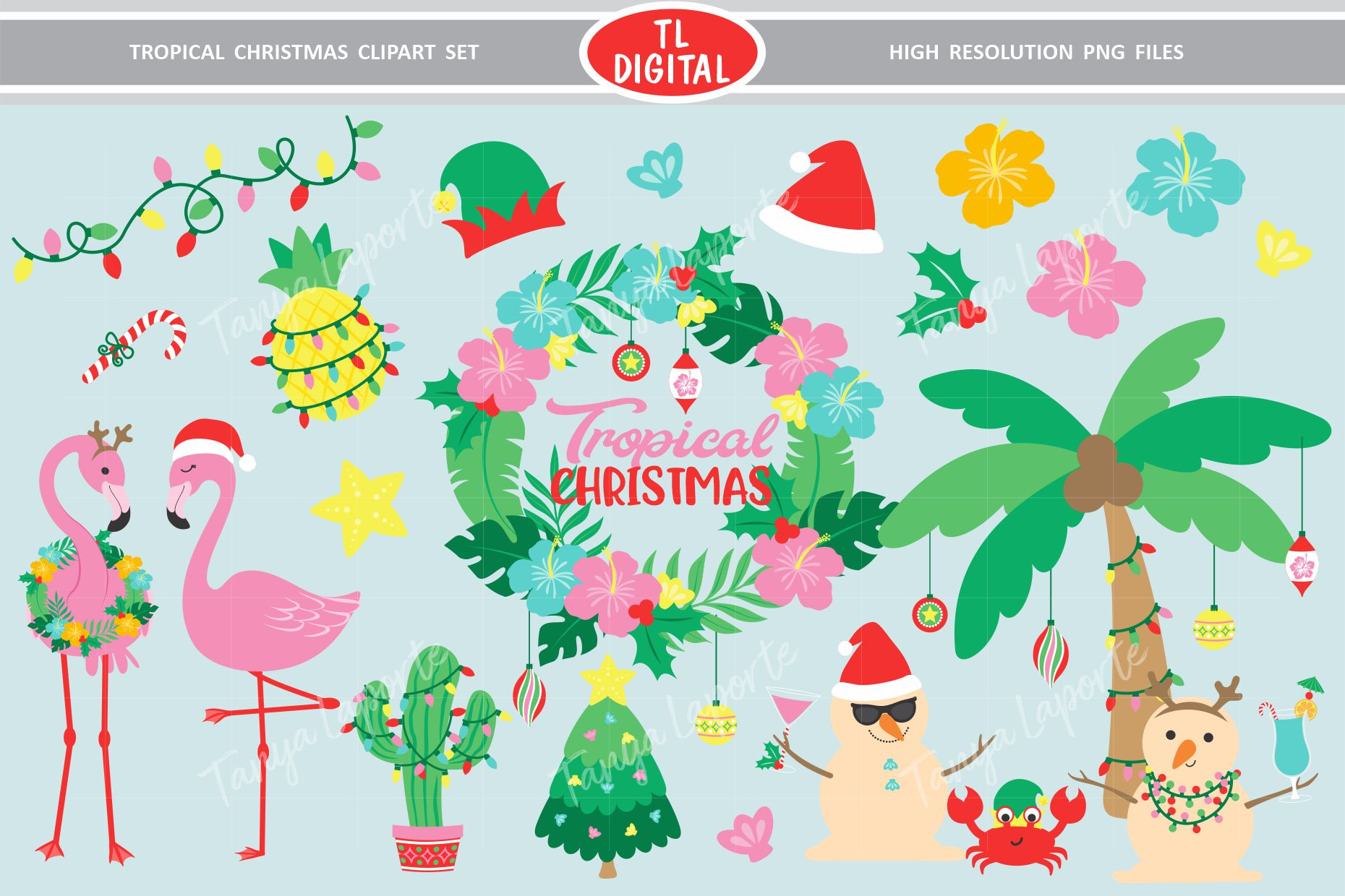 Download Free Tropical Christmas Clipart 28 Designs Graphic By Tl Digital for Cricut Explore, Silhouette and other cutting machines.