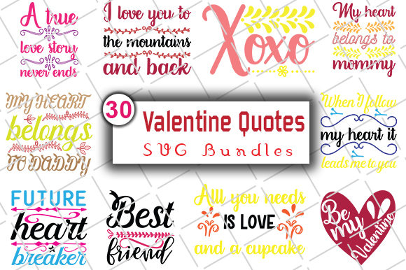 Print on Demand: Happy Valentine's Day SVG Bundle Graphic Crafts By CreativeArt - Image 2