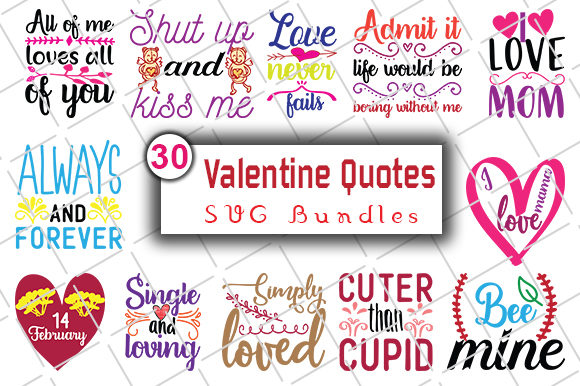 Print on Demand: Happy Valentine's Day SVG Bundle Graphic Crafts By CreativeArt - Image 1