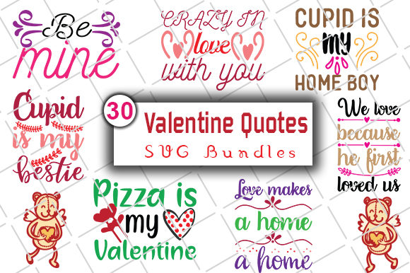 Print on Demand: Happy Valentine's Day SVG Bundle Graphic Crafts By CreativeArt - Image 3