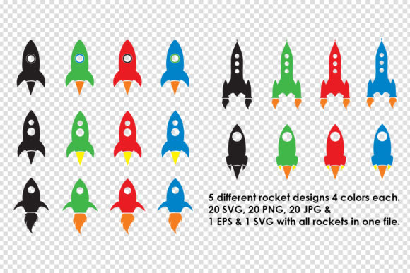Download Free Rocket Ship Clipart Bundle Spaceships Graphic By Gjsart for Cricut Explore, Silhouette and other cutting machines.
