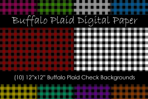 Buffalo Check Plaid Digital Paper Graphic Patterns By GJSArt