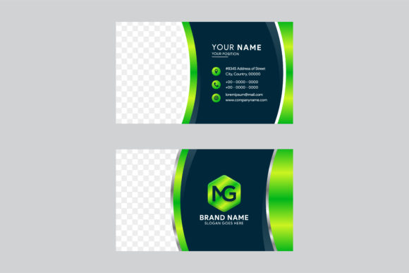 Print on Demand: Business Card Gradient Green Graphic Graphic Templates By noory.shopper