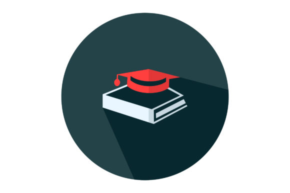 Download Free Book And Graduation Cap Flat Icon Vector Graphic By Riduwan for Cricut Explore, Silhouette and other cutting machines.
