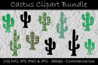 Cactus Clip Art - Cactus Silhouette Graphic Illustrations By GJSArt