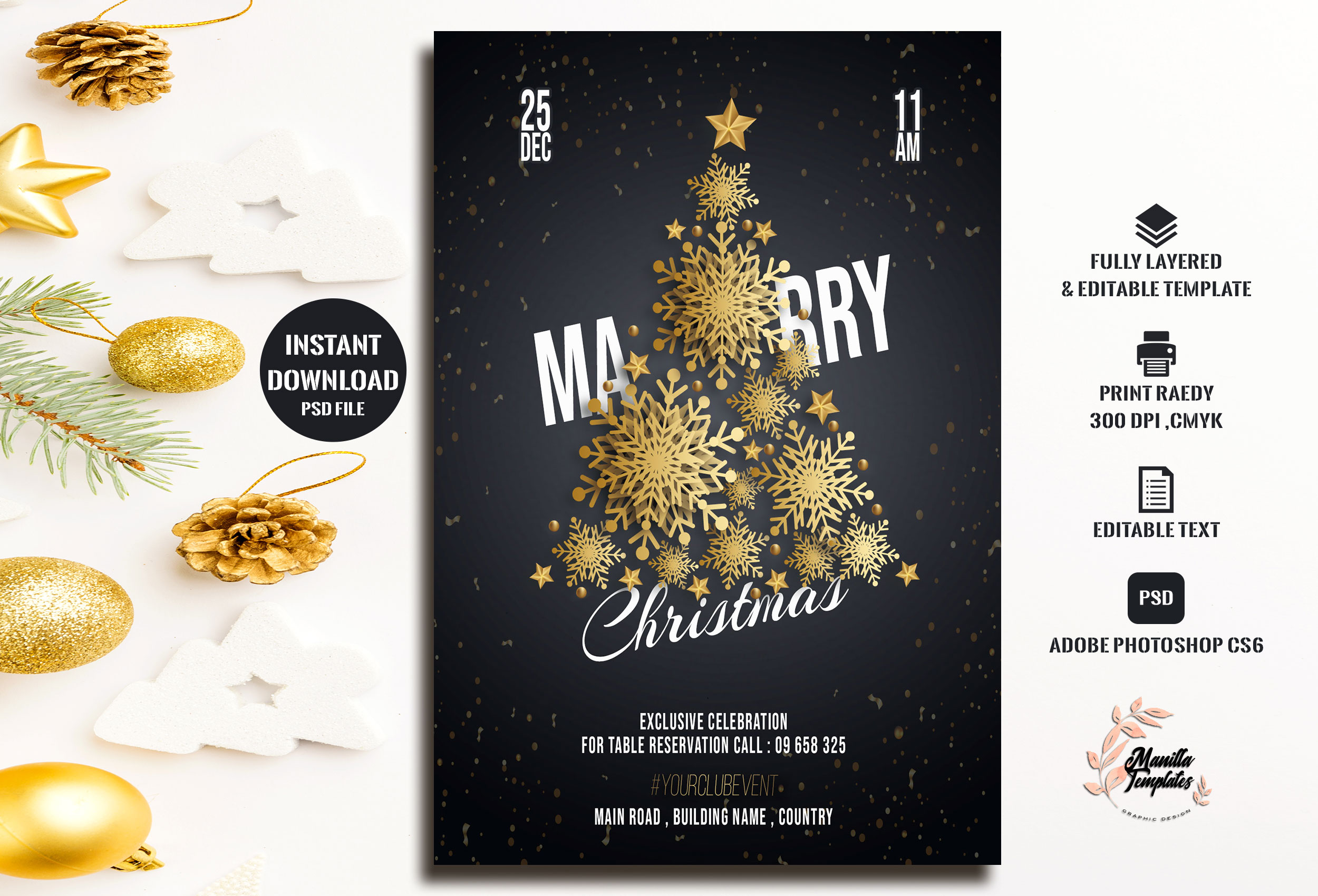 Download Free Marry Christmas Invitation Grafico Por Manilla Templates for Cricut Explore, Silhouette and other cutting machines.