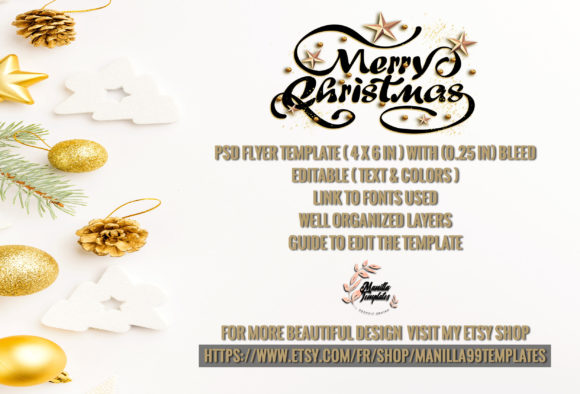 Download Free Marry Christmas Invitation Graphic By Manilla Templates for Cricut Explore, Silhouette and other cutting machines.