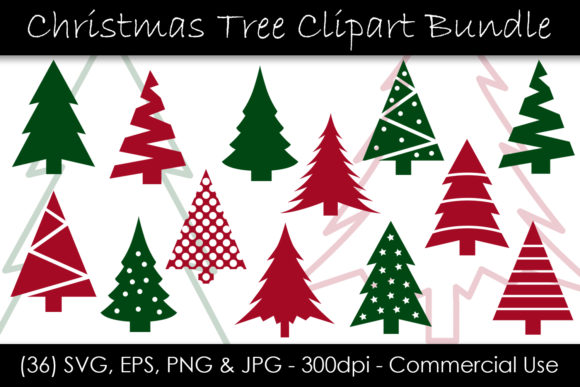 Christmas Tree Clip Art Bundle Graphic Objects By GJSArt - Image 1