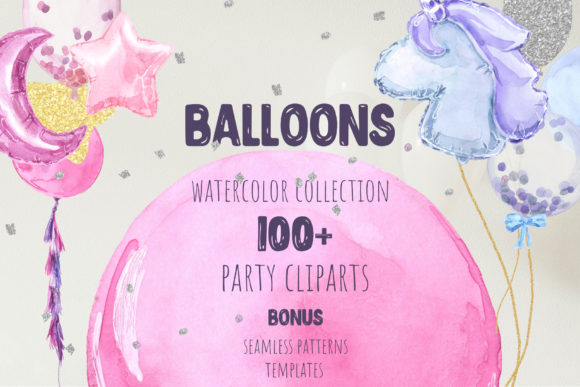 Party Balloons Watercolor Collection Graphic Illustrations By Cat In Colour - Image 1