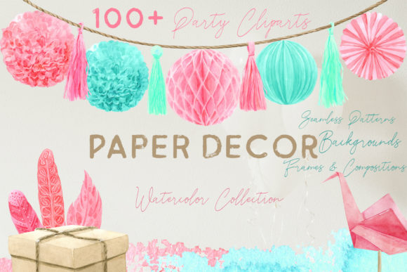 Paper Decor Watercolor Collection Graphic Illustrations By Cat In Colour - Image 1
