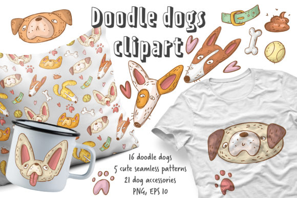 Print on Demand: Doodle Dogs Clipart Set Graphic Illustrations By Architekt_AT