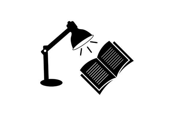 Print on Demand: Table Lamp and Book Glyph Vector Icon Graphic Icons By Riduwan Molla