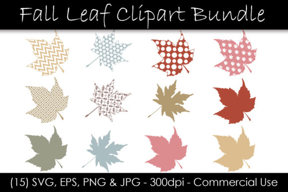 Fall Leaf SVG Clipart Bundle Graphic Illustrations By GJSArt