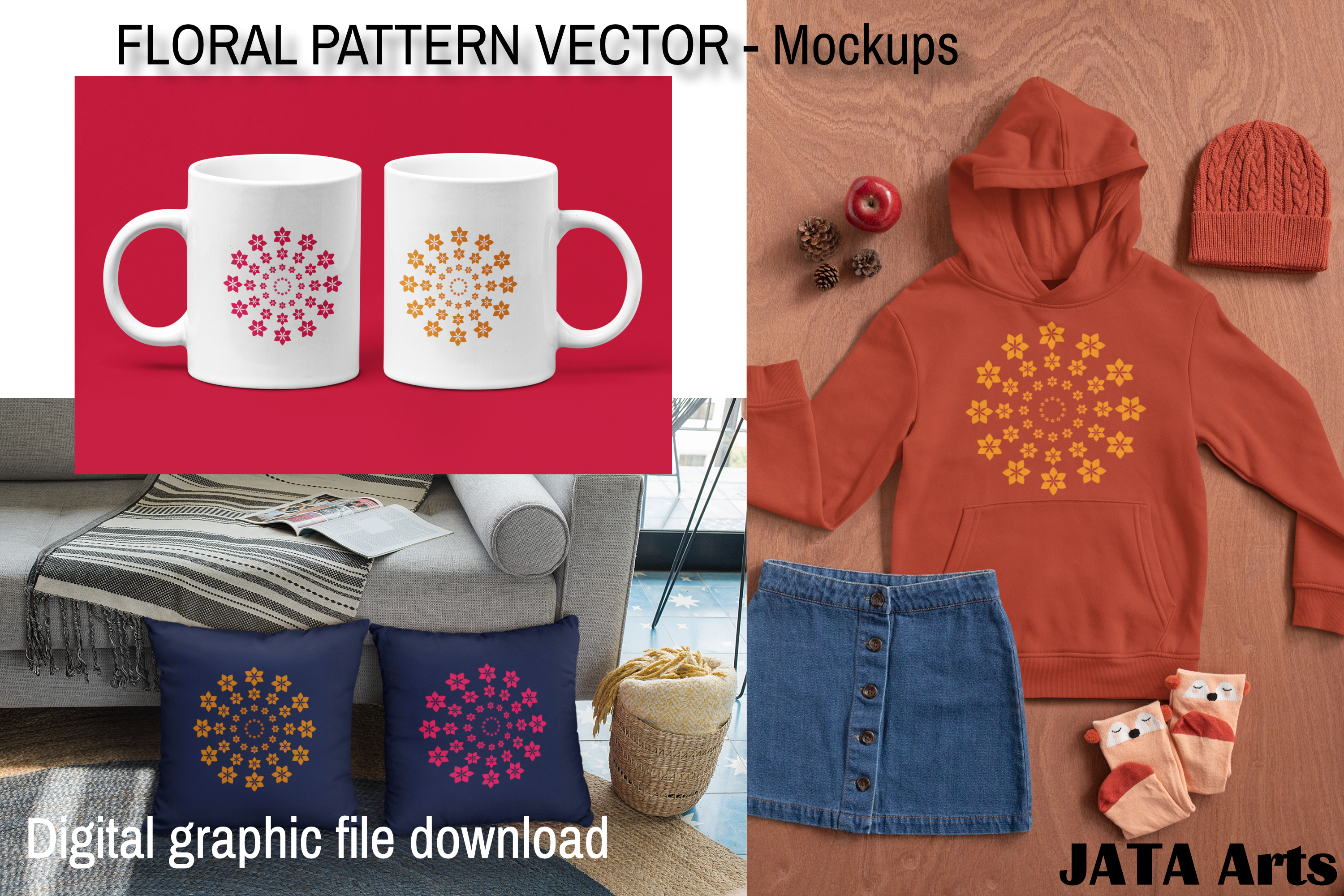 Download Free Floral Vector Pattern Graphic By Jata Arts Creative Fabrica for Cricut Explore, Silhouette and other cutting machines.
