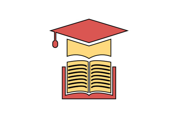 Download Free Graduation Cap With Book Icon Graphic By Riduwan Molla for Cricut Explore, Silhouette and other cutting machines.