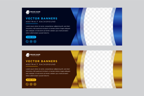 Print on Demand: Gold Blue Horizontal Banner Curve Graphic Graphic Templates By noory.shopper