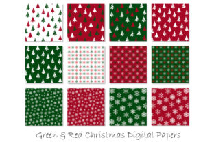Christmas Digital Paper - Red and Green Graphic Patterns By GJSArt 2