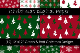 Christmas Digital Paper - Red and Green Graphic Patterns By GJSArt 1