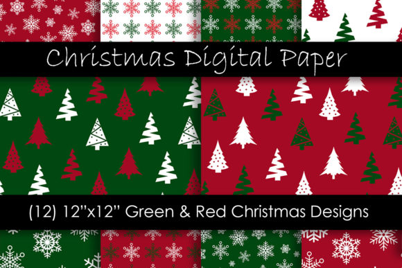 Christmas Digital Paper - Red and Green Graphic Patterns By GJSArt - Image 1