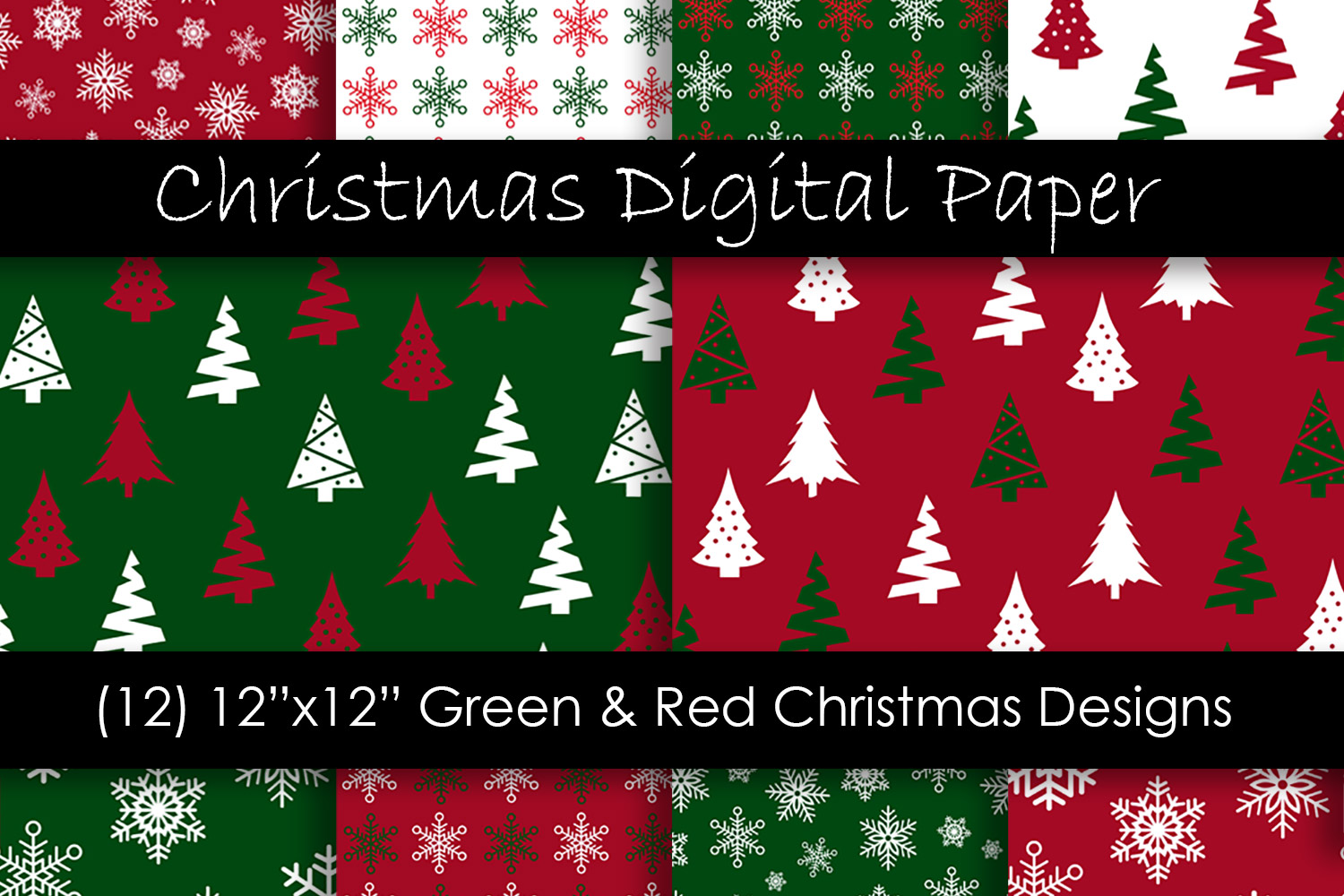Download Free Christmas Digital Paper Red And Green Graphic By Gjsart for Cricut Explore, Silhouette and other cutting machines.
