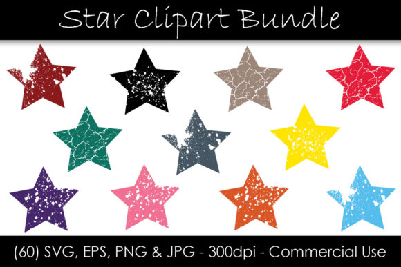Stars SVG Bundle - Grunge Star Clip Art Graphic Objects By GJSArt