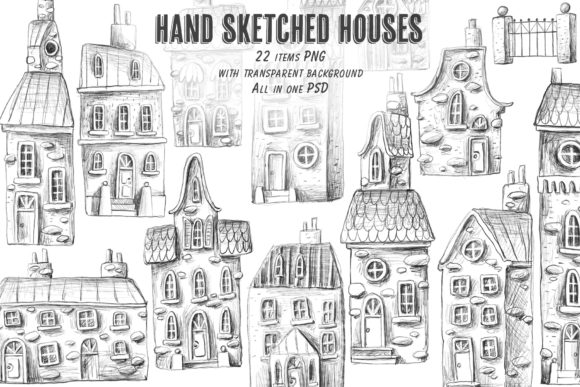 Print on Demand: House Sketch Clipart Set Graphic Illustrations By Architekt_AT