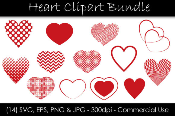 Download Free Heart Clip Art Bundle Heart Shapes Graphic By Gjsart for Cricut Explore, Silhouette and other cutting machines.