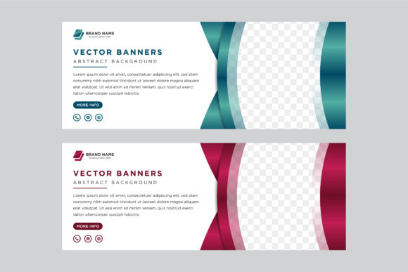 Print on Demand: Horizontal Banner Curve Gradient Green Graphic Graphic Templates By noory.shopper