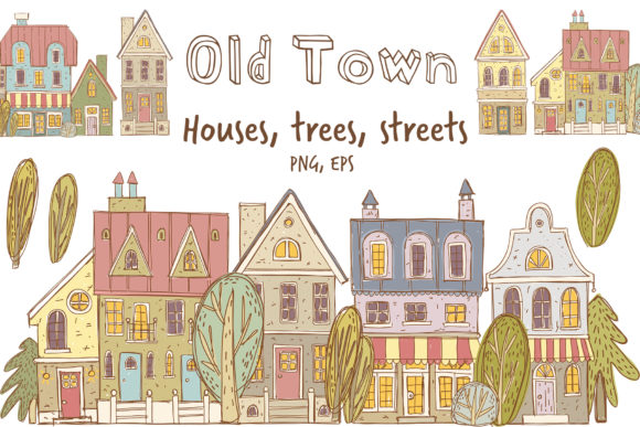 Download Free Old Town Clipart Collection Graphic By Architekt At Creative for Cricut Explore, Silhouette and other cutting machines.