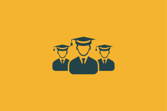 Download Free Students With Graduation Cap Flat Icon Graphic By Riduwan Molla for Cricut Explore, Silhouette and other cutting machines.