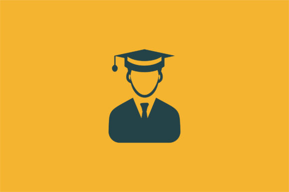 Man With Graduation Cap Flat Icon Vector Graphic By Riduwan
