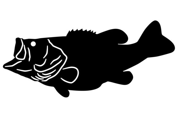 Download Free Largemouth Bass Silhouette Graphic By Idrawsilhouettes for Cricut Explore, Silhouette and other cutting machines.