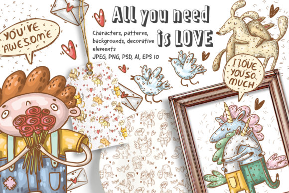 Print on Demand: Love Clipart Set Graphic Illustrations By Architekt_AT