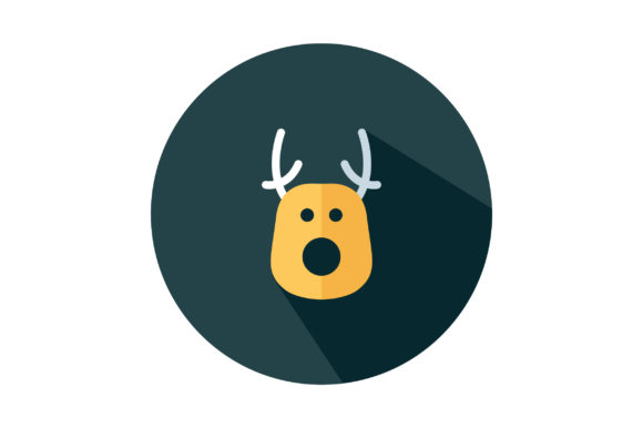 Download Free Colorful Deer Head Flat Vector Icon Graphic By Riduwan Molla for Cricut Explore, Silhouette and other cutting machines.