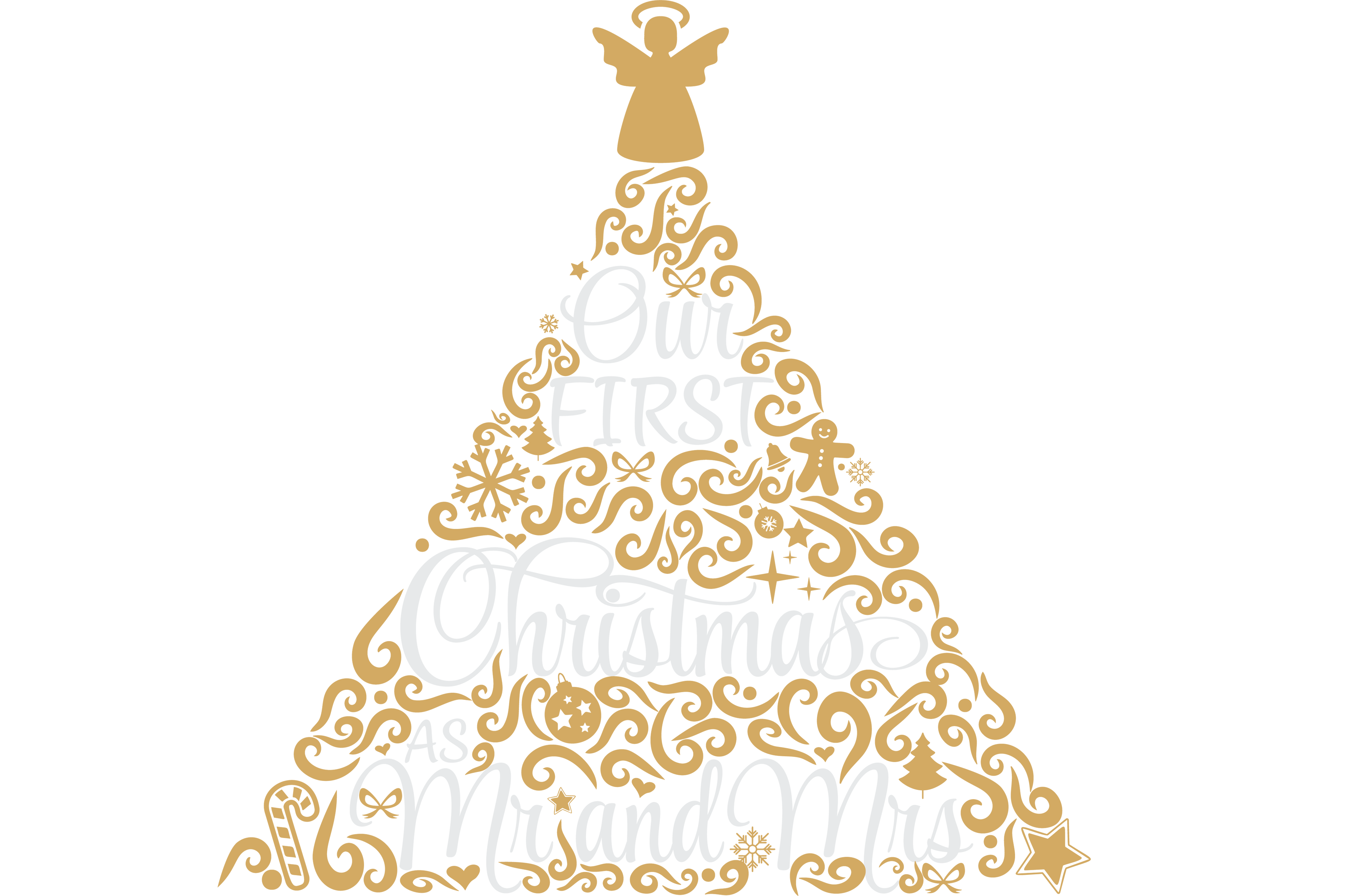 Download Free Our First Christmas As Mr And Mrs Graphic By Angela Wheeland for Cricut Explore, Silhouette and other cutting machines.