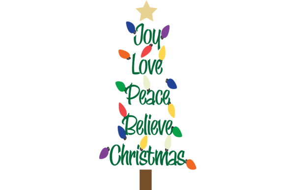 Download Free Joy Love Peach Believe Christmas Tree Graphic By Am Digital for Cricut Explore, Silhouette and other cutting machines.