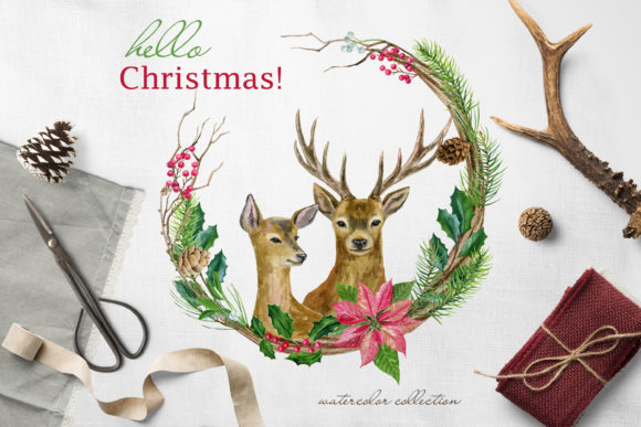 Hello Christmas! Watercolor Set Graphic Illustrations By lena-dorosh
