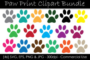 Color Paw Print Clip Art Graphic Objects By GJSArt