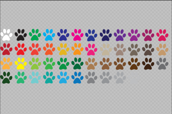 Download Free Color Paw Print Clip Art Graphic By Gjsart Creative Fabrica for Cricut Explore, Silhouette and other cutting machines.