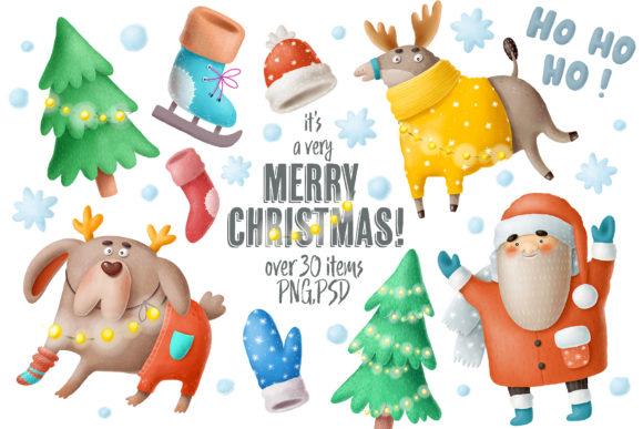 Print on Demand: Christmas Clipart and Characters Set Graphic Illustrations By Architekt_AT - Image 1