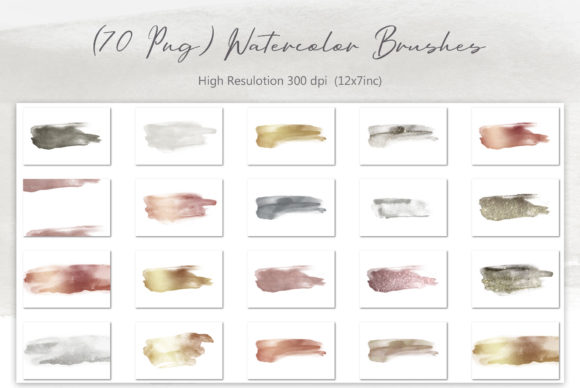 Print on Demand: Watercolor Brushes (PNG) 70 Textures Graphic Textures By Creative Paper - Image 2