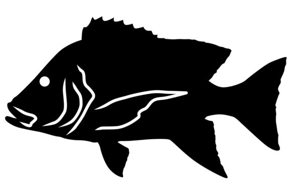 Red Emperor Fish Silhouette Graphic Illustrations By iDrawSilhouettes