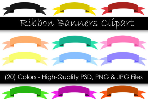 Ribbon Banner Clipart - Digital Clipart Graphic Objects By GJSArt
