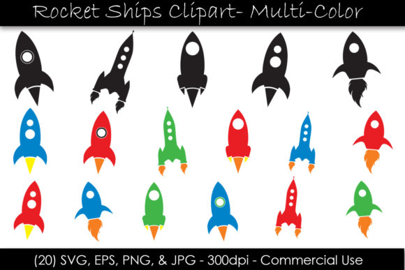 Rocket Ship Clipart Bundle - Spaceships Graphic Illustrations By GJSArt - Image 1