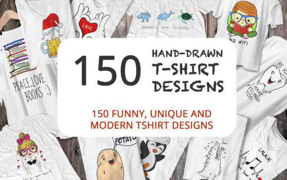 Print on Demand: 150 Hand Drawn Funny and Simple T-shirt Graphic Print Templates By elcanziba