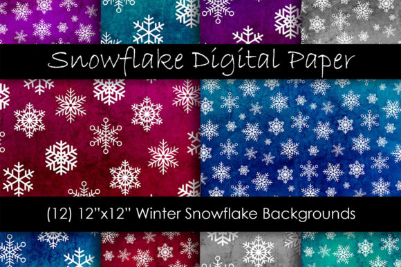 Snowflake Backgrounds - Snow Patterns Graphic Backgrounds By GJSArt